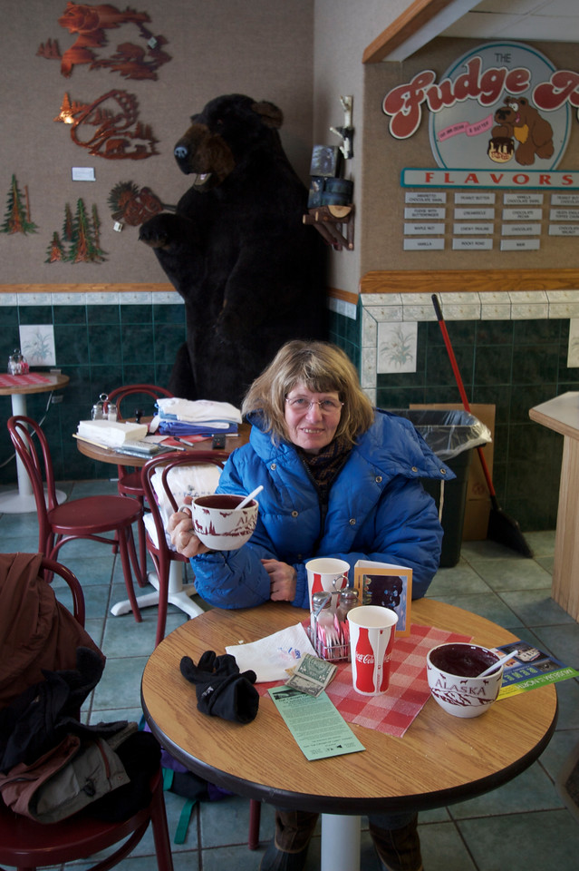 Lunch in Fairbanks. Note Rena's coat