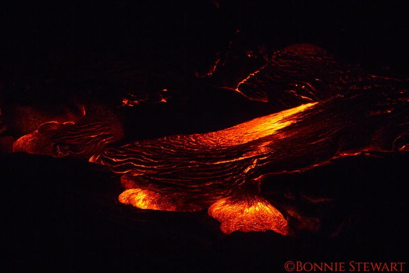 Lava released from the fissure vent moves forward creating wonderful designs