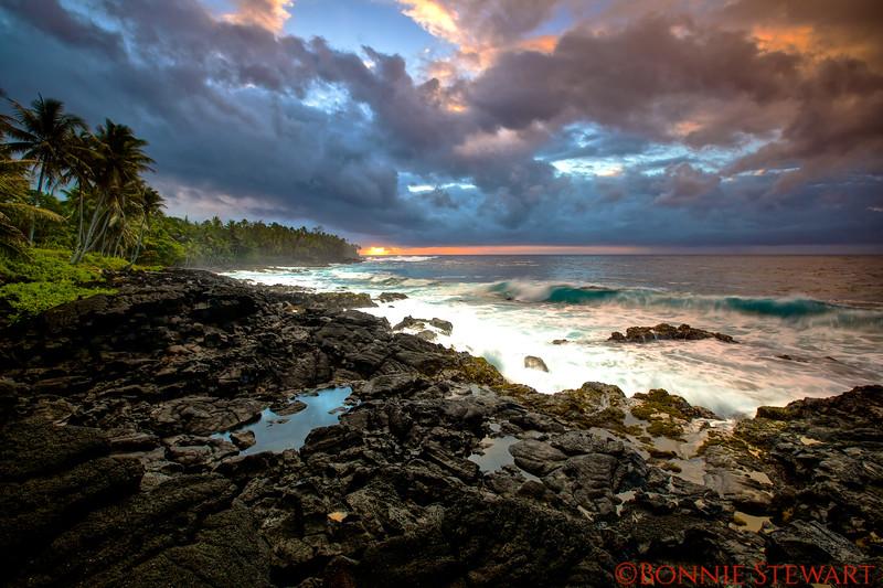 Kalapana Lava Beach at sunrise
