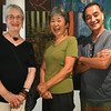 Artists Julie Peterson, Setsuko and Hiroki Morinoue in their art gallery in Holualoa