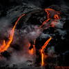 Lava close-up as it meets the water
