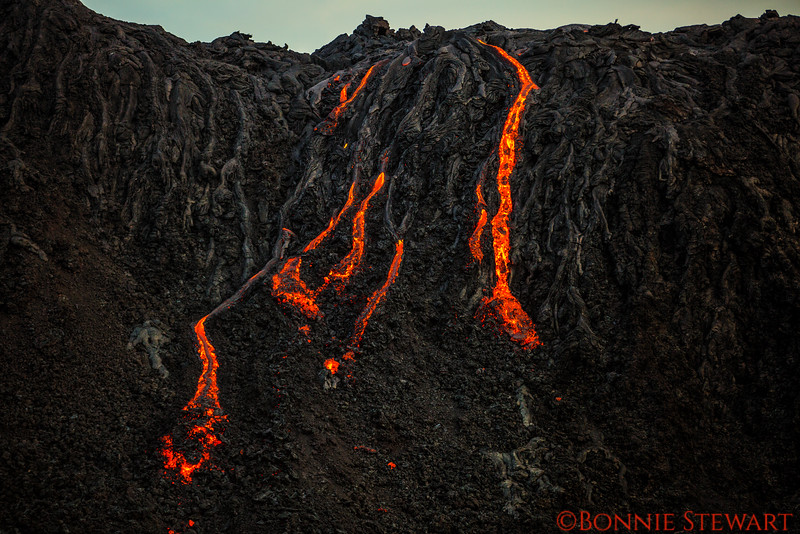 Lava moving down the cliffs