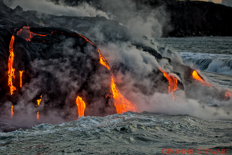 Lava flowing into the waves