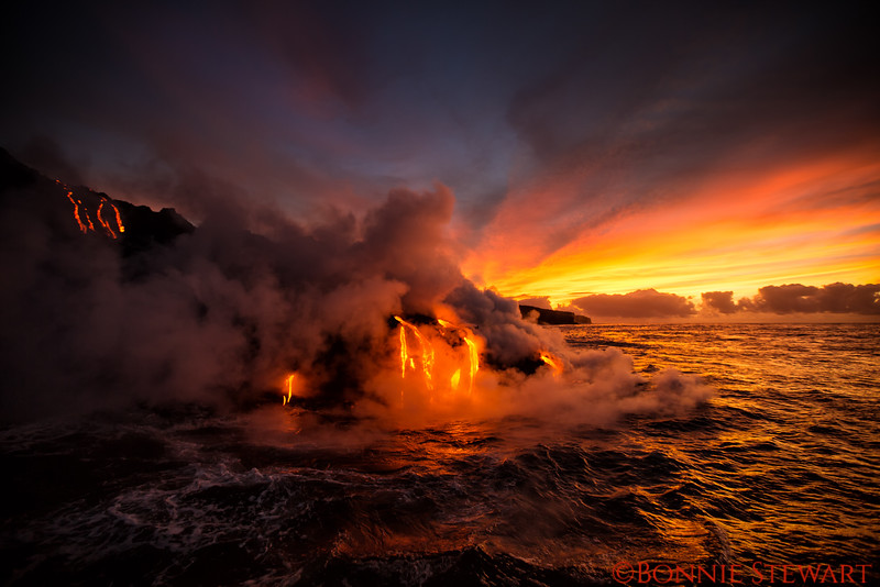 Lava entering the ocean at Kamokuna