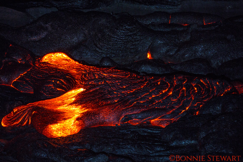 Lava moving forward from the fissure vent that release the lava