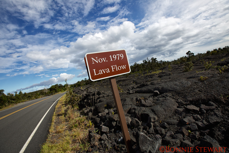 Lava Flows along the Chain of Craters Drive, a 19 mile winding paved road through the east rift towards the ocean.