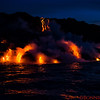 Lava enters the ocean at Kamokuna in early morning