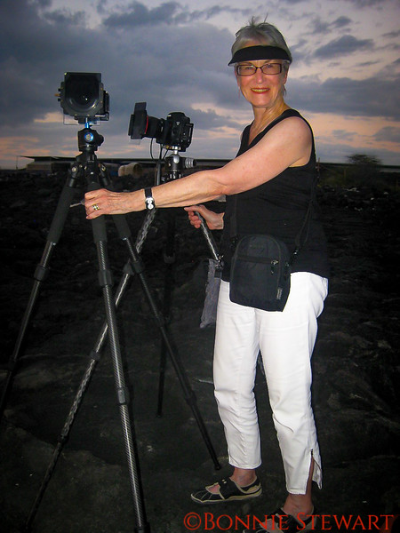"""Julie Peterson, """"The Crew"""", at the sinkhole minding the tripods!"""