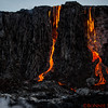 Lava dripping down the cliff in early morning