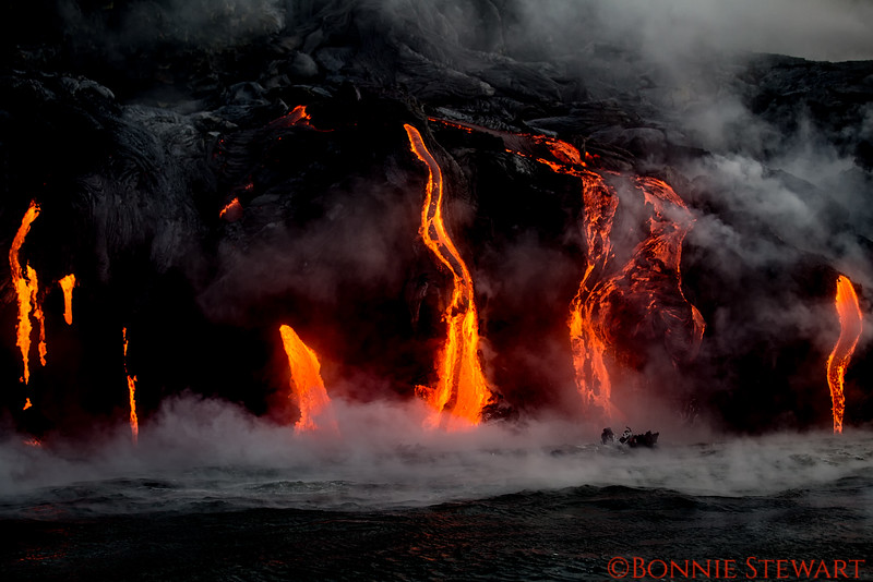Close-up of lava entering the ocean
