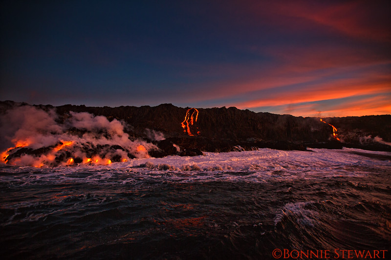 View of lava flows  as the sun begins to rise