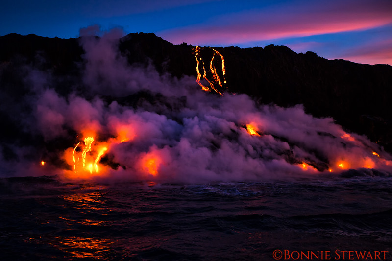 "Lava enters the ocean in early morning - the ""purple"" effect visible only for a few seconds"