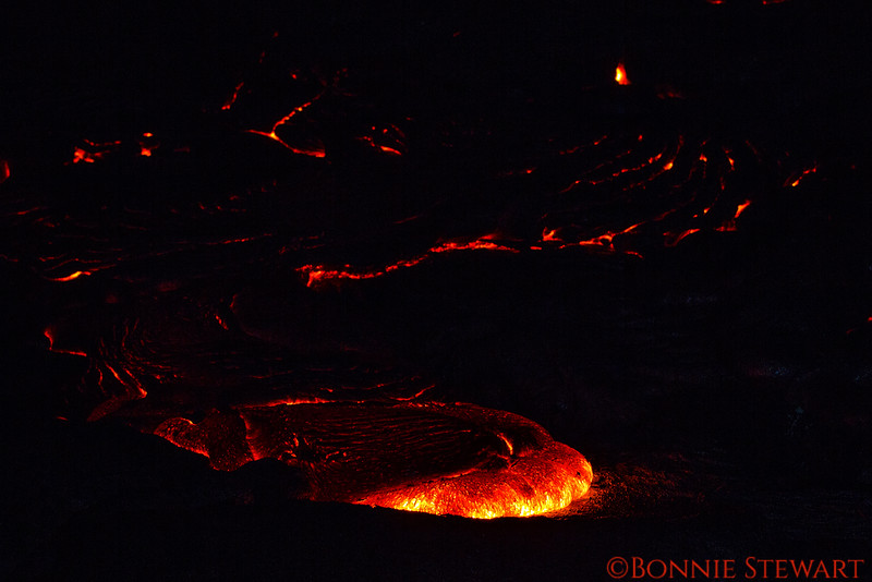 Lava footprint moving forward slowly but steadily