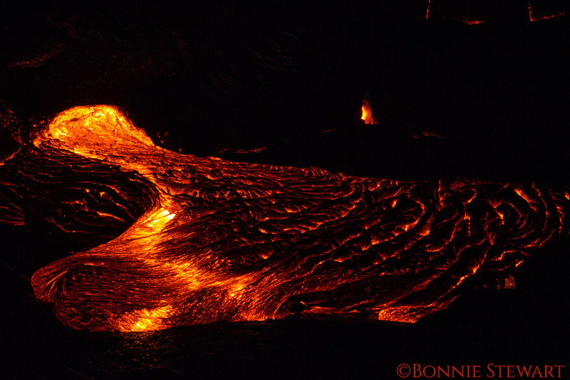 Lava moving forward slowly after the eruption fissure released molten lava