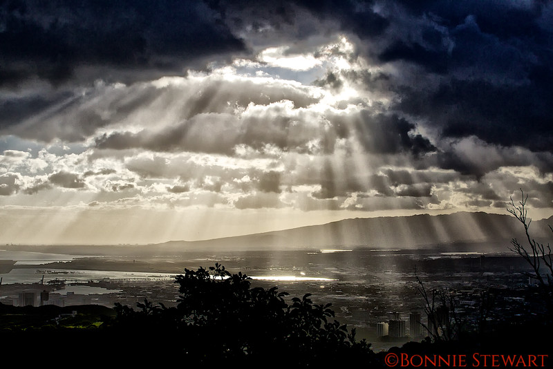 View of Honolulu towards Pearl Harbor