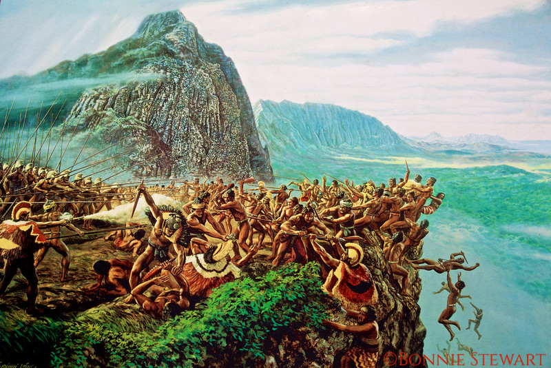 painting of the battle of Nu'uanu resulting in uniting the Hawaiian Islands under Kamahameha I in 1795.