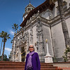 Francie Lyons in front of the Hearst Castle Entrance
