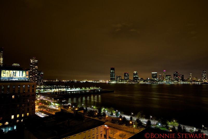 View of New York towards Hoboken, NJ from the roof deck of Agnes Fischer's New York flat