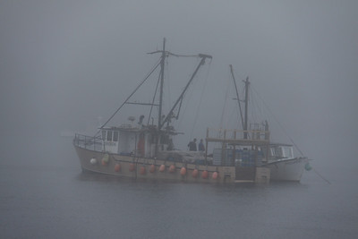 Large Lobster Boat in Fog