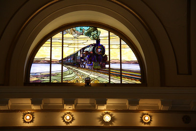 Stained Glass Window of Steam Locomotive