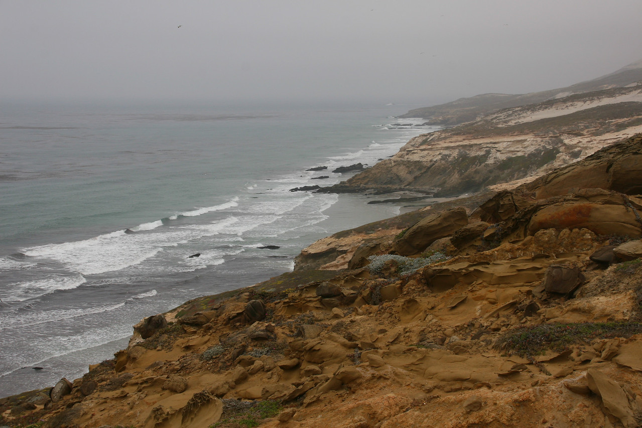 Just east of the pinniped filled beach, the North coast of San Miguel is visible.