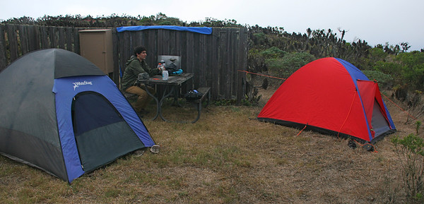 All the campsites have a wood windbreak to protect against the prevailing NW wind.