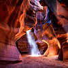 Sand and Light Beams in Antelope Canyon