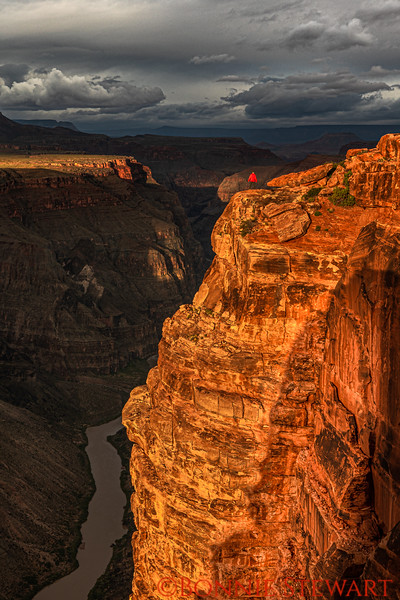 Sunrise at Toroweap at the top of the Grand Canyon.   Johnny Adolphson at the top of the Peak with a 3,000 foot drop!   Johnny lead the photo group of Action Photo Tours based in Kanab, Utah.