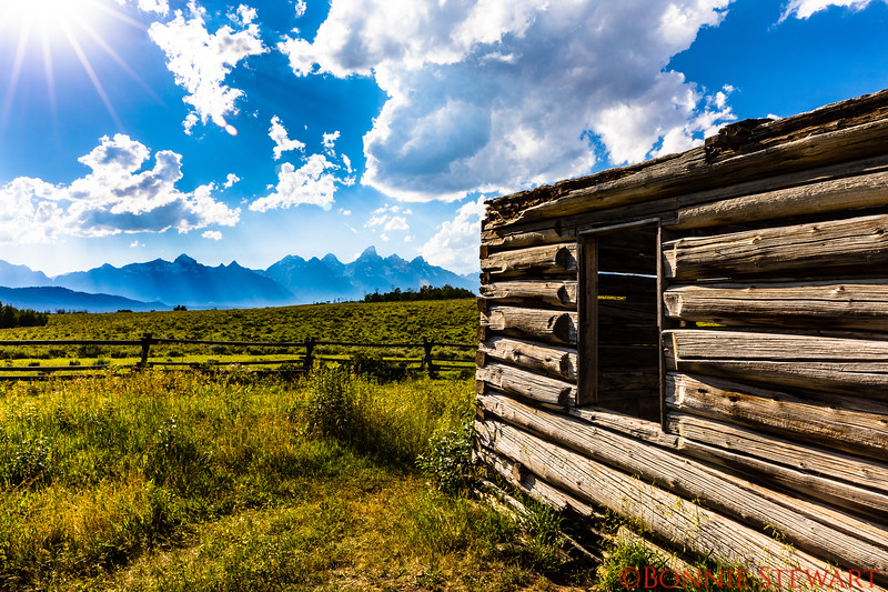 Daytime at the Shane Cabin with the Grant Teton Mountains