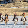 Wranglers preparing to herd wild horses - or maybe not too wild.  Left to right: Marijn, Rebecca, Mel, Lance, Tom (head wrangler), Augustus, Lauren, Eric