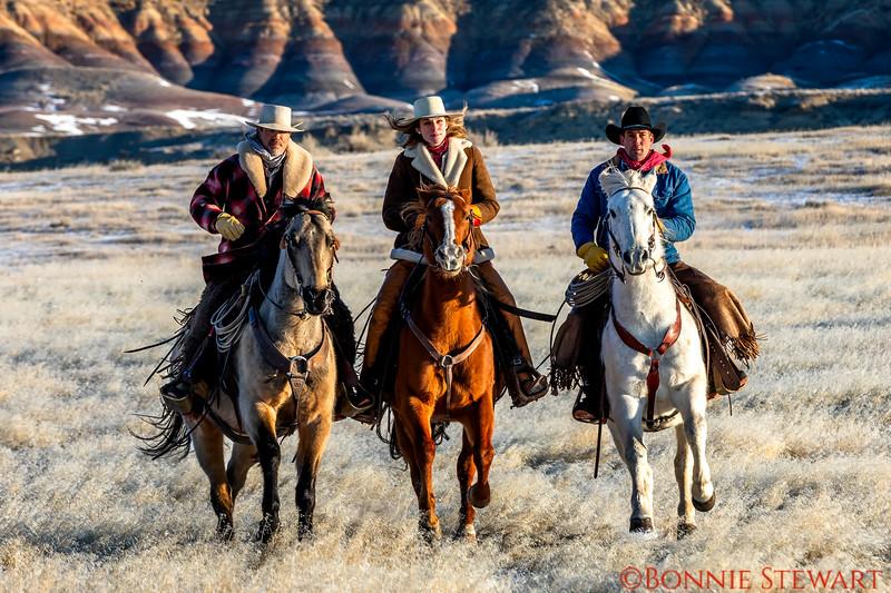 Wranglers riding - Tom, Lauren, Mel