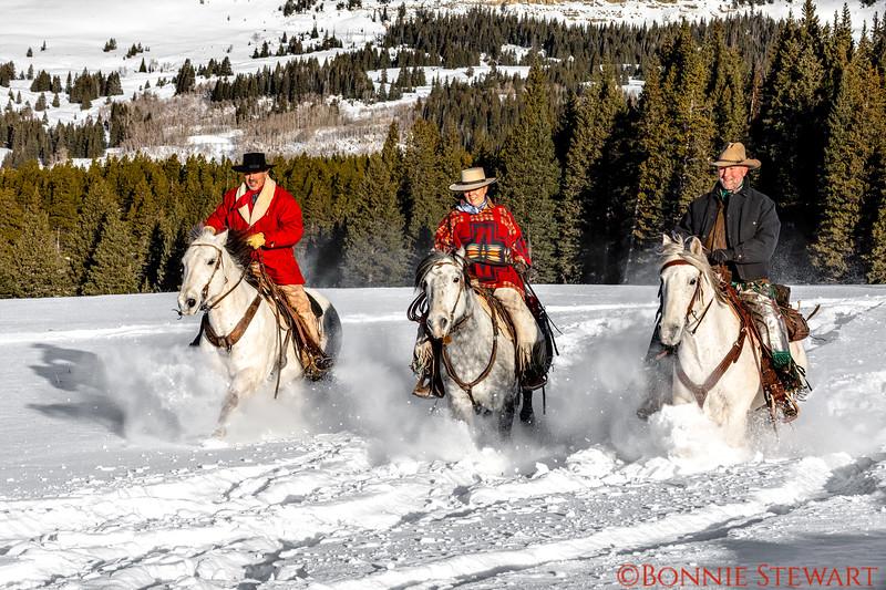 Tom, Marijn and Eric ride the soft snow