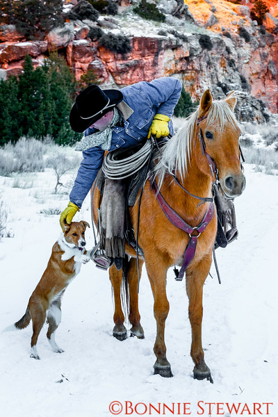 Wrangler Mel petting his dog before riding through the snowy canyon at dusk