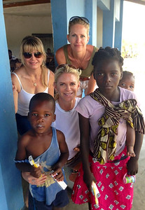 Lyn Pedersen, Krista Krieger & Michele Gradin and children at Azura's Rainbow Fund primary school