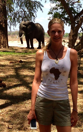 Michele Gradin and resident camp elephant
