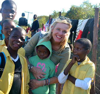 Empowers Africa Trustee Catherine Howell and learners at the Khulani Special School
