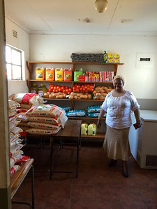 Mrs. Zikhali at the Orphans and Vulnerable Childrens' Center at Nkomo Primary School