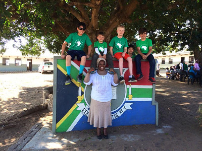 Mrs. Zikhali with our boys at the Nkomo Primary School