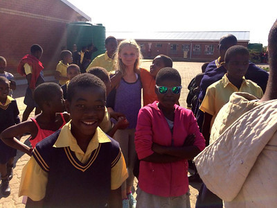 Katherine Krieger with learners at the Khulani Special School