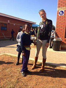 Empowers Africa Trustee Michele Gradin and learner at the Khulani Special School