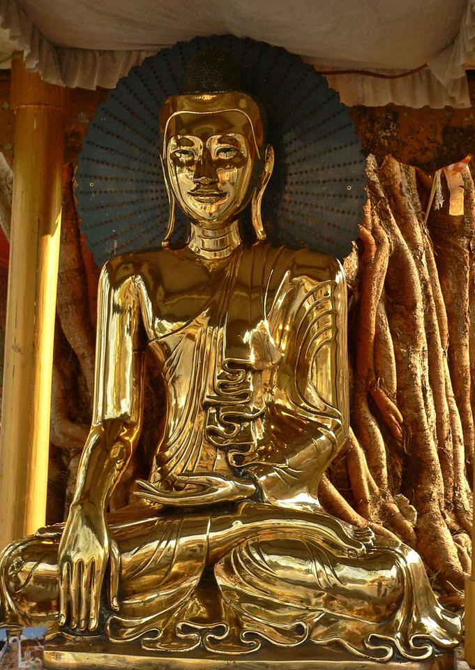 Golden Buddha, Shwedagon - At sunset, this Buddha, plated in solid gold, echoes the golden curves of the Banyan tree planted just behind it