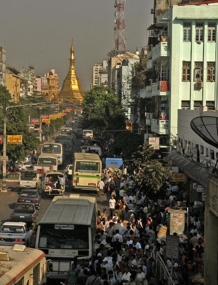 The chaos that is Yangon - Yangon, formerly known as Rangoon, now has over five million residents. Its downtown area radiates from the golden stupa of Sule Pagoda.
