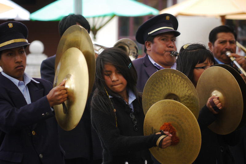 Cuenca brass band, playing on the equator, Quito