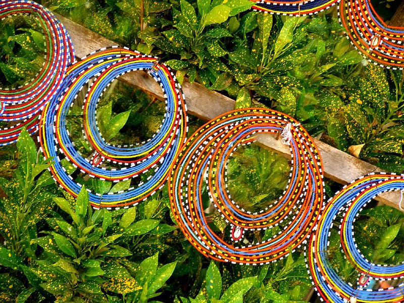 Maasai beadwork - Beaded necklaces made by women of the Maasai tribe are on display near Kenya's Amboseli National Park.