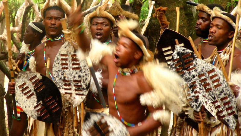 Zulu dancers, DumaZulu - The most enthusiastic dancers we saw in Africa were these Zulus, who performed to the thunder of drums and war chants.