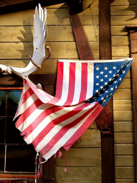 Showing the colors at the McCarthy Lodge - Alaska's rugged weather has taken it's toll on the McCarthy Lodge's flag, supported on the horns of moose antlers.