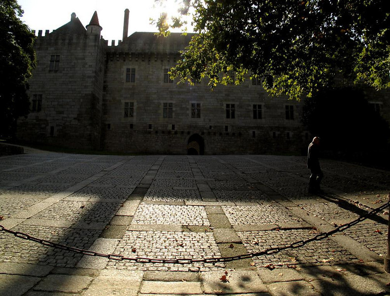 Ducal Palace Yard, Guimaraes, Portugal - The vast medieval plaza fronting the Ducal Palace in Guimaraes was used as military parade ground in the 19th century when the building was turned into a barracks.