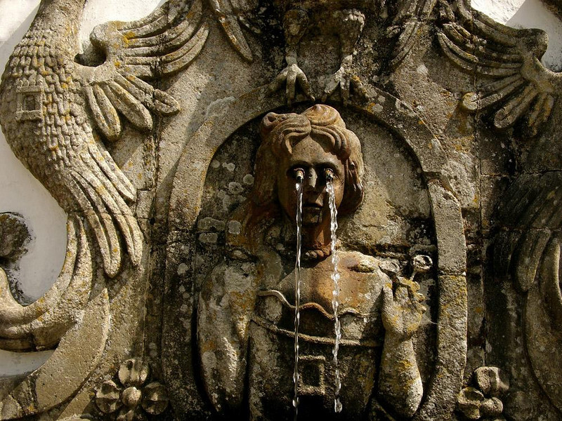 Weeping fountain,Bom Jesus Shrine, Braga - Another one of the many fountains decorating the huge staircase descending to Braga from the Bom Jesus Shrine.