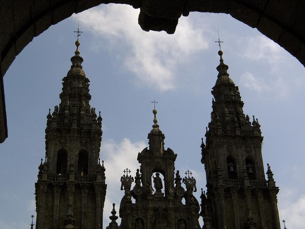Cathedral, Santiago de Compostela, Spain - The tomb of the Apostle St. James, Spain's patron saint, was discovered here in 813, and since then it has been drawing pilgrims from throughout Europe.