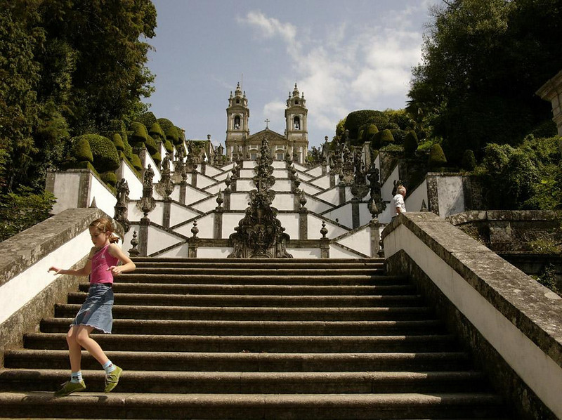Down the steps, Bom Jesus Shrine, Braga - An elaborate 18th century staircase leads down the hill from the Bom Jesus Shrine to Braga.